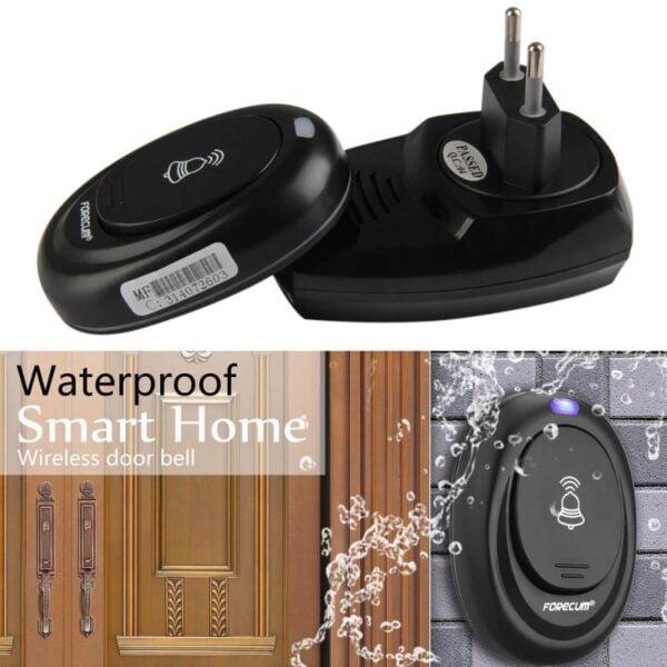פעמון אלחוטי חכם מעוצב לדלת עמיד למים עם 36 מנגינות