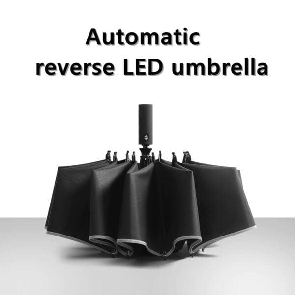 מטרייה אוטומטית הפוכה עם פנס ופס מחזיר אור