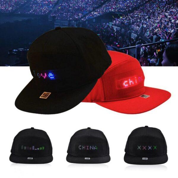 כובע מצחיה עם כיתוב לד מתחלף
