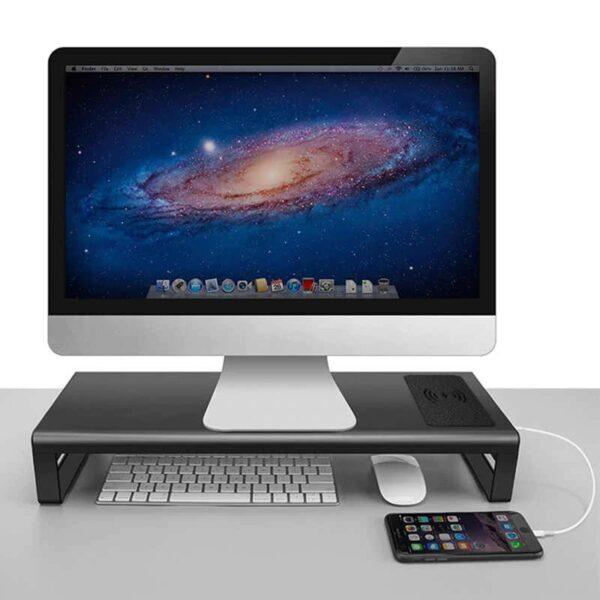 מעמד שולחני מאלומיניום למסך עם יציאות USB וטעינה אלחוטית