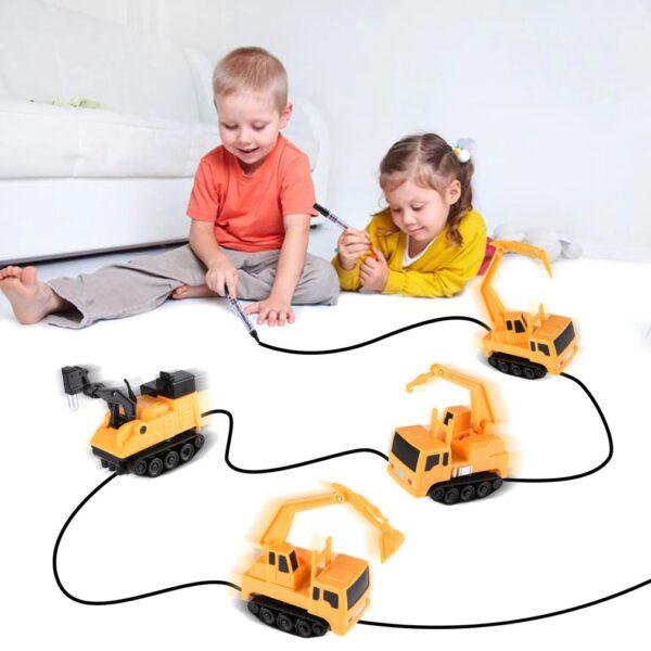 משאית שנוסעת לפי מסלול ציור טוש