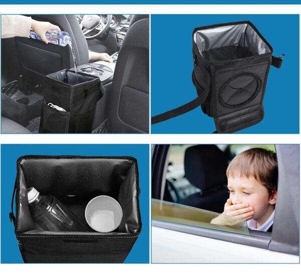 פח אשפה לרכב עם מכסה אוטומטי אטום למים