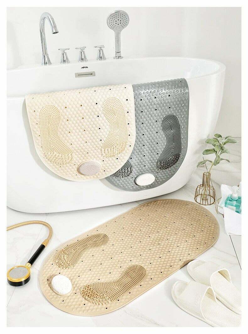שטיח קרצוף לאמבטיה נגד החלקה עם אבן פדיקור מובנית